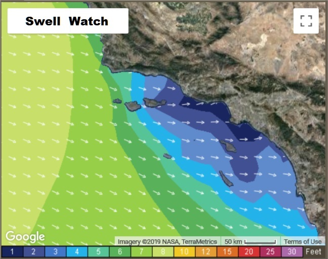Southern California swell and diving conditions