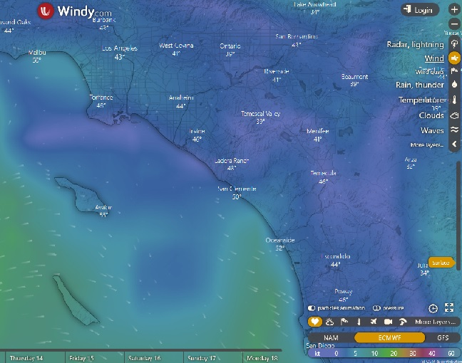 So Cal dive and wind conditions