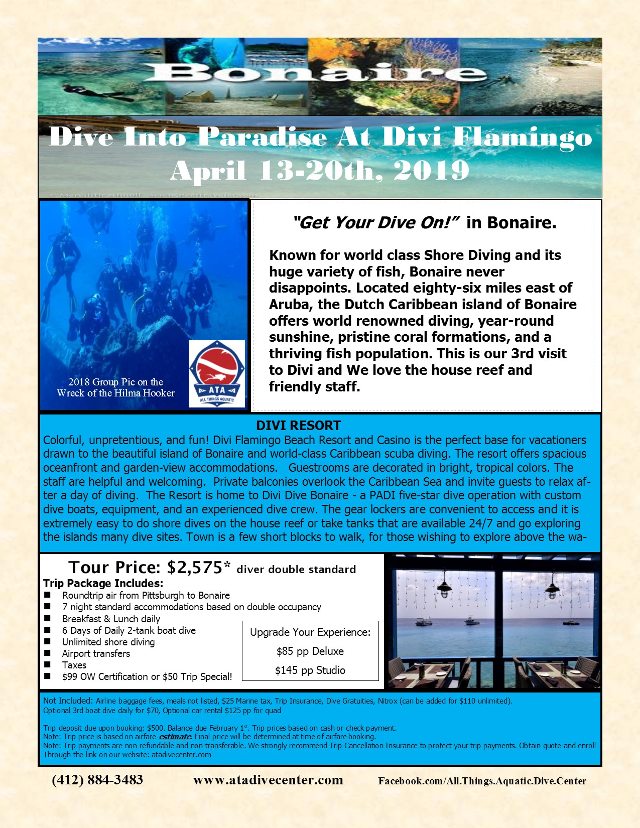 Divi Flamingo Resorts & Casino, Bonaire April 13th-20th, 2019