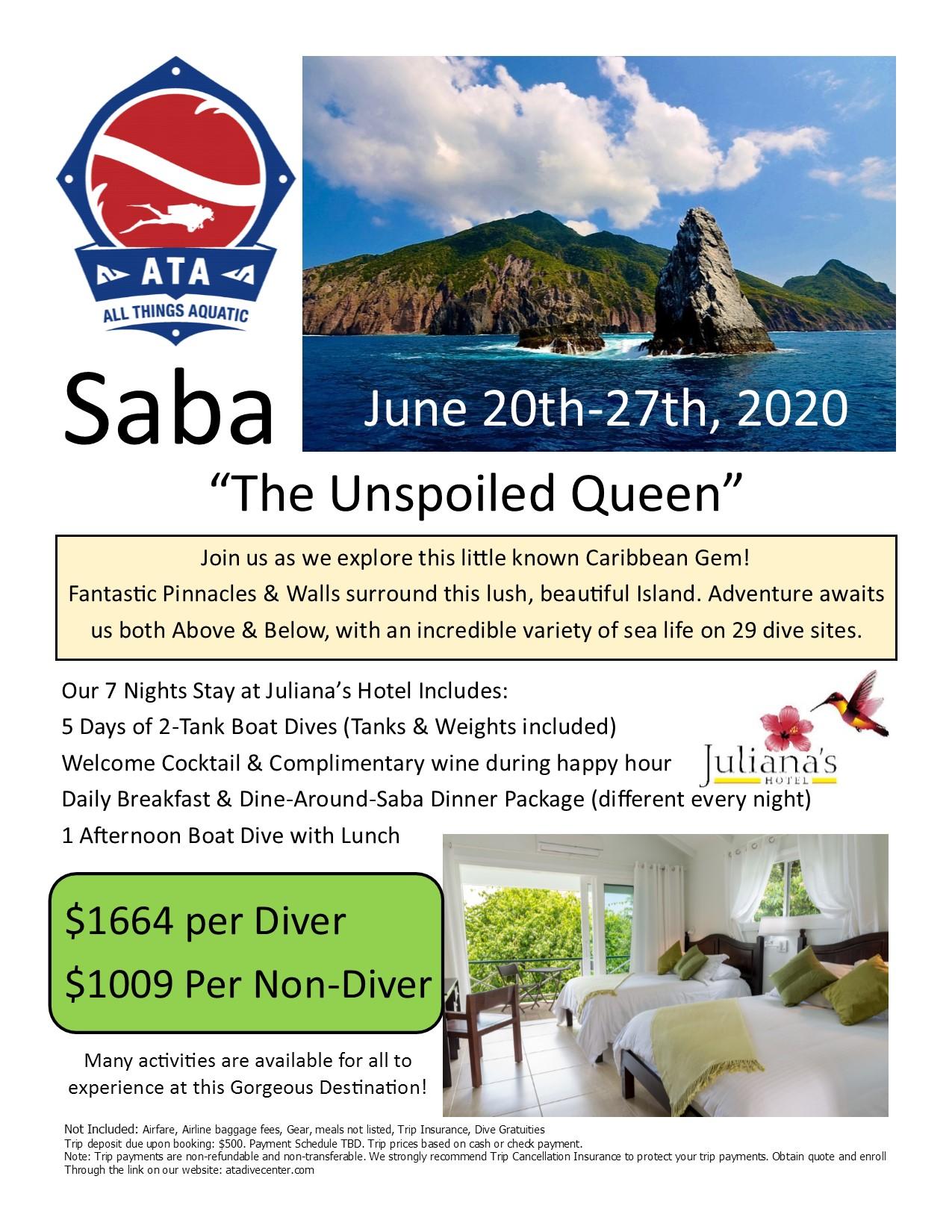Saba - Juliana's Hotel June 20th-27th, 2020